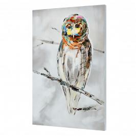 [art.work] Ručne maľovaný obraz - sova - plátno napnuté na ráme - 90x60x3,8 cm