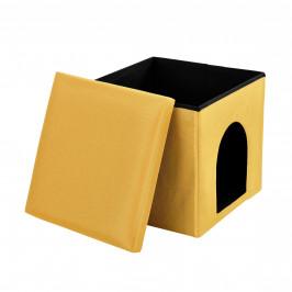 [en.casa]® Skladací taburet - s odkladacím priestorom / pelechom - horčicovo žltý