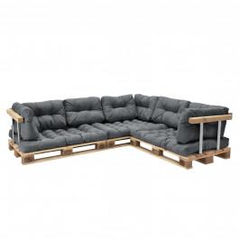[en.casa]® Paletový interiérový nábytok - 3 x sedák, 8 x vankúš - svetlo sivé