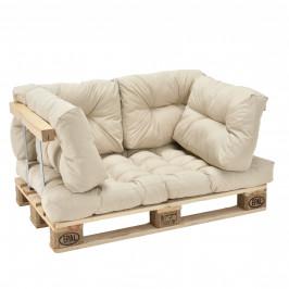 [en.casa]® Paletový interiérový nábytok - 1 x sedák, 4 x vankúš - béžové