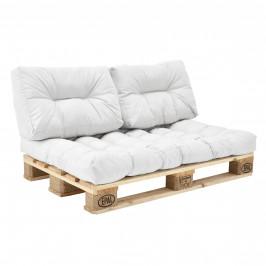 [en.casa]® Paletový interiérový nábytok - 1 x sedák, 2 x vankúš - biele