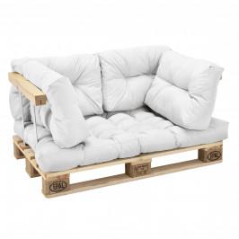 [en.casa]® Paletový interiérový nábytok - 1 x sedák, 4 x vankúš - biele