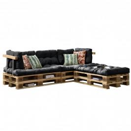 [en.casa]® Paletový interiérový nábytok - 3 x sedák, 5 x vankúš - tmavo sivé