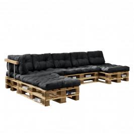 [en.casa]® Paletový interiérový nábytok - 4 x sedák, 6 x vankúš - tmavo sivé