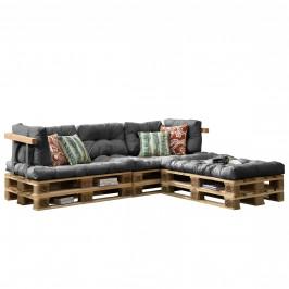 [en.casa]® Paletový interiérový nábytok - 3 x sedák, 5 x vankúš - svetlo sivé