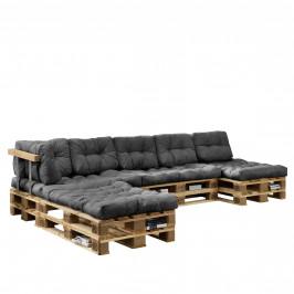 [en.casa]® Paletový interiérový nábytok - 4 x sedák, 6 x vankúš - svetlo sivé