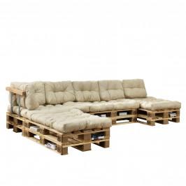 [en.casa]® Paletový interiérový nábytok - 4 x sedák, 6 x vankúš - béžové
