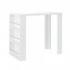 [en.casa]® Elegantný bar so vstavanými policami - 54 x 13,8 x 32,8 cm - biely