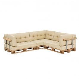 [en.casa]® Paletový nábytok - kompletná sada - model 4 - béžová