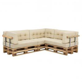 [en.casa]® Paletový nábytok - kompletná sada - model 5 - béžová