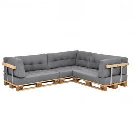 [en.casa]® Paletový nábytok - kompletná sada - model 4 - svetlo sivá