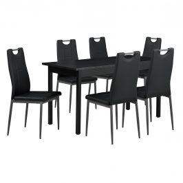 [en.casa]® Štýlový jedálenský stôl - čierny - so 6 stoličkami - čiernymi