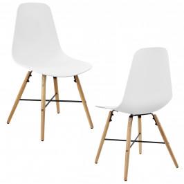 [en.casa]® Dizajnové stoličky 2-dielna sada - 85,5 x 46 cm - biele