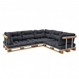 [en.casa]® Paletový nábytok  - kompletná sada - tmavo sivá - model E