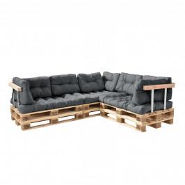 [en.casa]® Paletový nábytok  - kompletná sada - svetlo sivá - model F