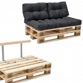 [en.casa]® Paletový nábytok  - kompletná sada - tmavo sivá - model B