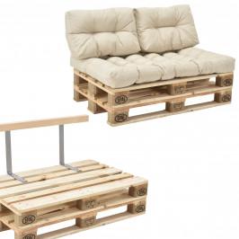 [en.casa]® Paletový nábytok  - kompletná sada - béžová - model B