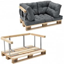 [en.casa]® Paletový nábytok  - kompletná sada - svetlo sivá - model C