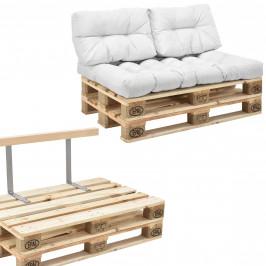 [en.casa]® Paletový nábytok  - kompletná sada - biela - model B