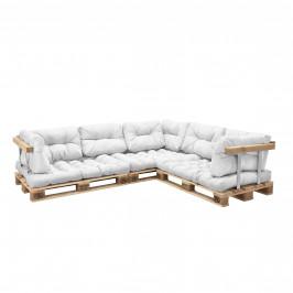 [en.casa]® Paletový nábytok  - kompletná sada - biela - model E