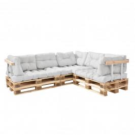 [en.casa]® Paletový nábytok  - kompletná sada - biela - model F