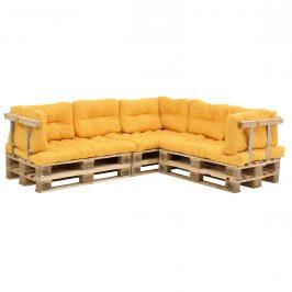 [en.casa]® Paletový nábytok  - kompletná sada - horčicovo žltá - model F