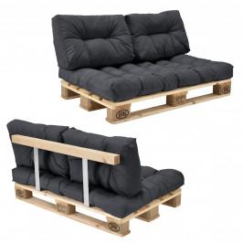 [en.casa]® Paletový interiérový nábytok - model A - tmavo sivý