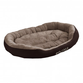 [en.casa]® Pelech - pre mačky a psov - s obojstranným vankúšikom - oxford látka / PP-bavlna - 110 x 80 x 23 cm [XL] - tmavo hnedý / svetlo hnedý