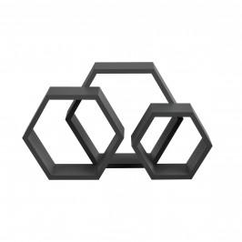 [en.casa]® Trojdielna sada dizajnových políc na stenu - tmavo sivá - model 20