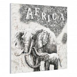 [art.work] Ručne maľovaný obraz - slon 4 - plátno napnuté na ráme - 100x100x3,8 cm