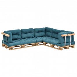 [en.casa]® Paletový nábytok  - kompletná sada - tyrkysová - model E