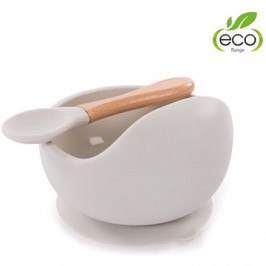 Bo Jungle silikónová miska s prísavkou a lyžičkou – béžová