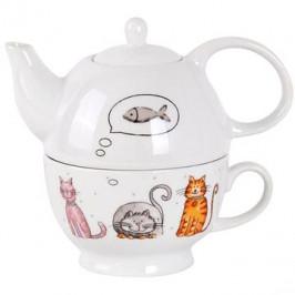 Toro Kanvička na čaj 470 ml so šálkou, motív mačka
