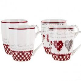 BANQUET Hrnček keramický KAREN 340 ml, mix dekorov, 4 ks