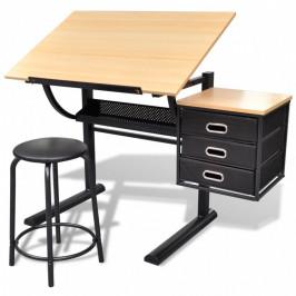 Náklopný kresliace stôl so stoličkou a zásuvkami Dekorhome