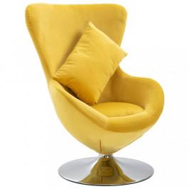 Otočné kreslo s vankúšom zamat Dekorhome Žltá