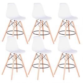 Barové stoličky 6ks CARBRY 2 NEW biela / buk Tempo Kondela