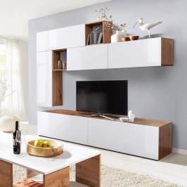 Obývacia stena MIRALDA biela lesk HG / dub wotan Tempo Kondela