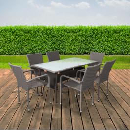 Záhradný jedálenský set OBSOR 6 + 1 sivá