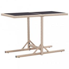 Záhradný stôl 110x53 cm polyratan / sklo Dekorhome Béžová
