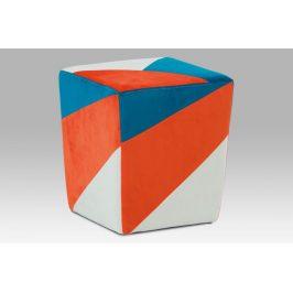 Taburet TAB-107 ORA2 oranžová / modrá / krémová Autronic