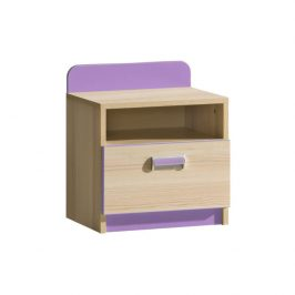 Noční stolek, jasan/fialový, EGO L12 06022131 Tempo Kondela