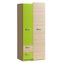 Věšáková skříň, jasan / zelená, EGO L1 06023415 Tempo Kondela