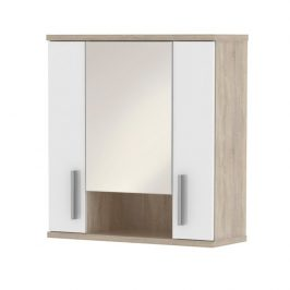 Závěsná skříňka se zrcadlem, bílý pololesk / dub sonoma, Lessy LI 01 0000071098 Tempo Kondela