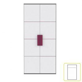 Skříň věšáková, šedá / bílá / fialová, LOBETE S82 0000071587 Tempo Kondela