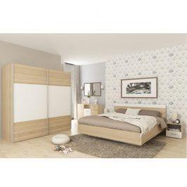 Ložnicový komplet (postel 160x200 cm), dub sonoma / bílá, GABRIELA 0000167788 Tempo Kondela