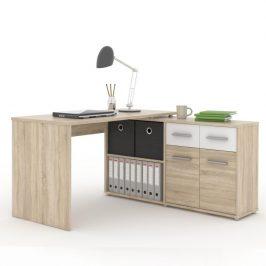 PC stůl s policí, dub sonoma/bílá, RAFAEL NEW 0000185325 Tempo Kondela