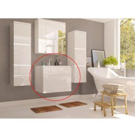 Skříňka pod umyvadlo, bílá / bílý extra vysoký lesk HG, MASON WH13 0000186888 Tempo Kondela