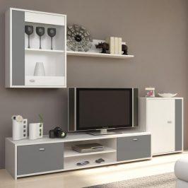 Obývací stěna, bílá / šedá, GENTA 0000173909 Tempo Kondela