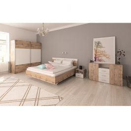 Ložnicový komplet (postel 180x200 cm), dub wotan / bílá, GABRIELA 0000209921 Tempo Kondela